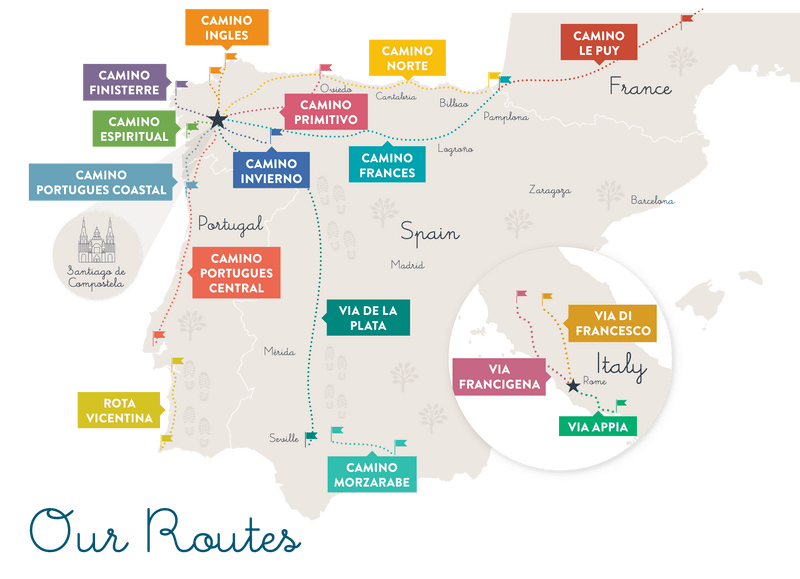 map camino de santiago routes