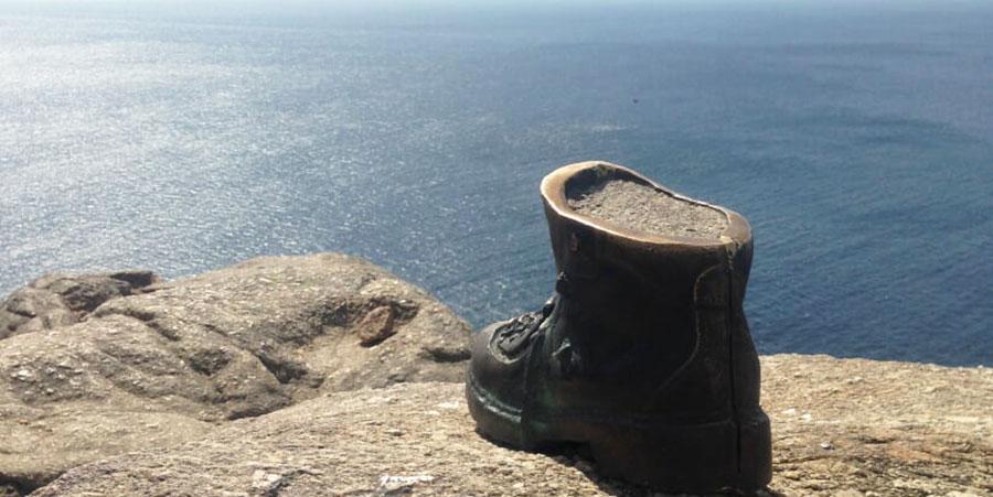 boot-cape-fisterra-camino-de-santiago-caminoways