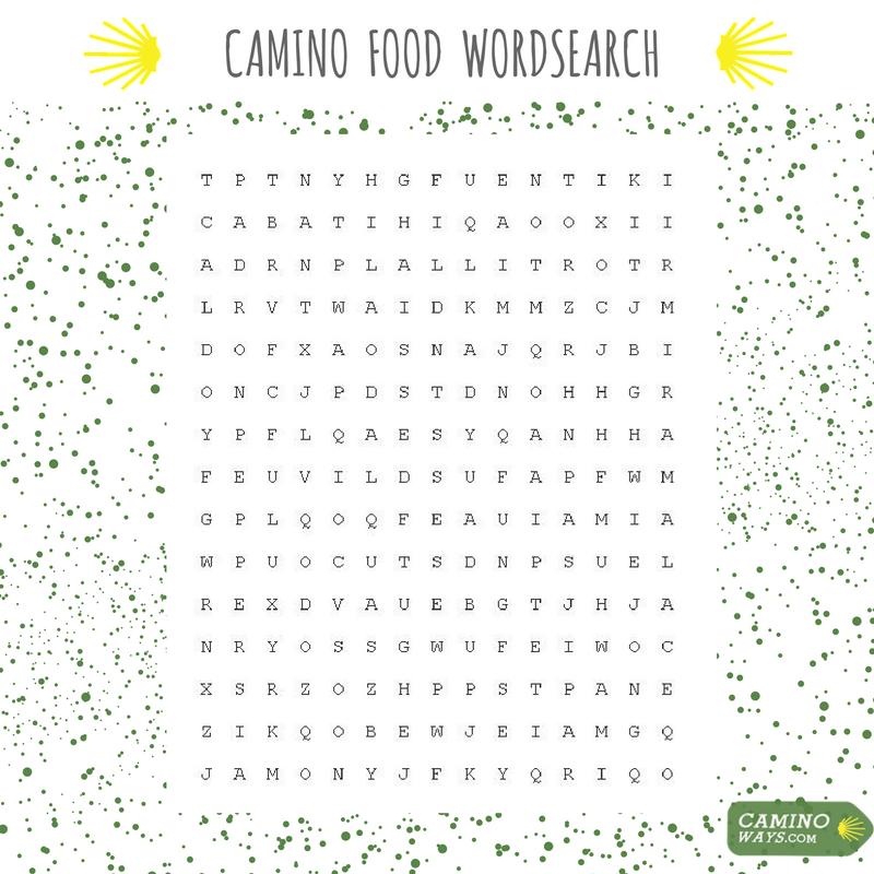 Camino Food Wordsearch CaminoWays
