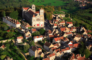 The Sainte-Marie-Madeleine Basilica and environs in Vézelay, France. (Photograph by Gérard Corret, Flickr)
