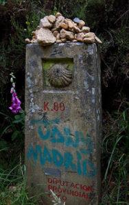 Milestone along Camino de Santiago