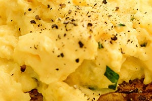 Scrambled eggs with truffle oil and tarragon