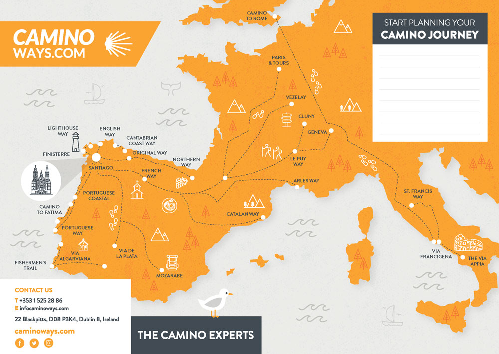 Camino Map - Start Planning Today - Caminoways.com on camino santiago map, el camino map, middle ages pilgrimage map, camino trail map, camino pilgrimage map,